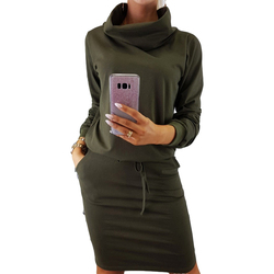 Pocket 2018 Women Autumn Dress Turtleneck Female Drawstring Elastic Waist Straight Party Causal Solid Lace-Up Red Dresses M0165 1