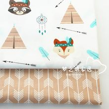 160CM*50CM Nordic Wind Cartoon Bear Fox Tent Arrow Fabric sewing baby cloth infant linens kids bedding cushion patchwork fabric(China)