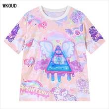 WKOUD College Style T-shirts For Gril Harajuku Short Sleeve Printing T shirts New Fashion Loose O-ne