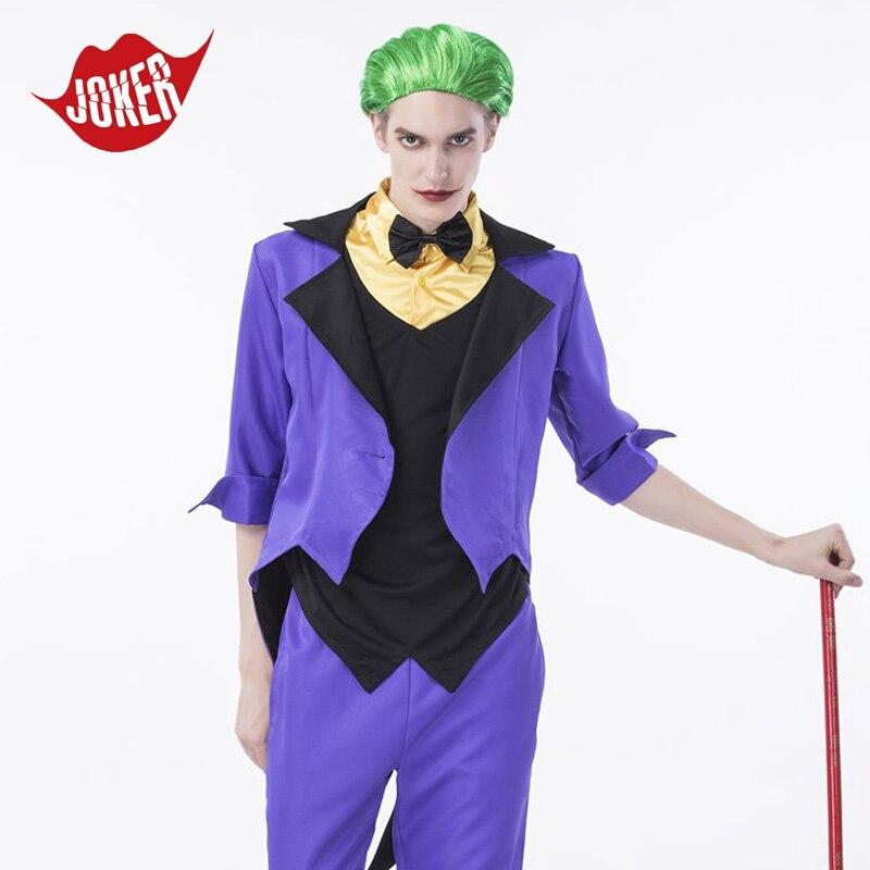 2017 New Suicide Squad joker men Cosplay costume Halloween Rick Flagg cosplay Costumes for men fancy Purple joker suit