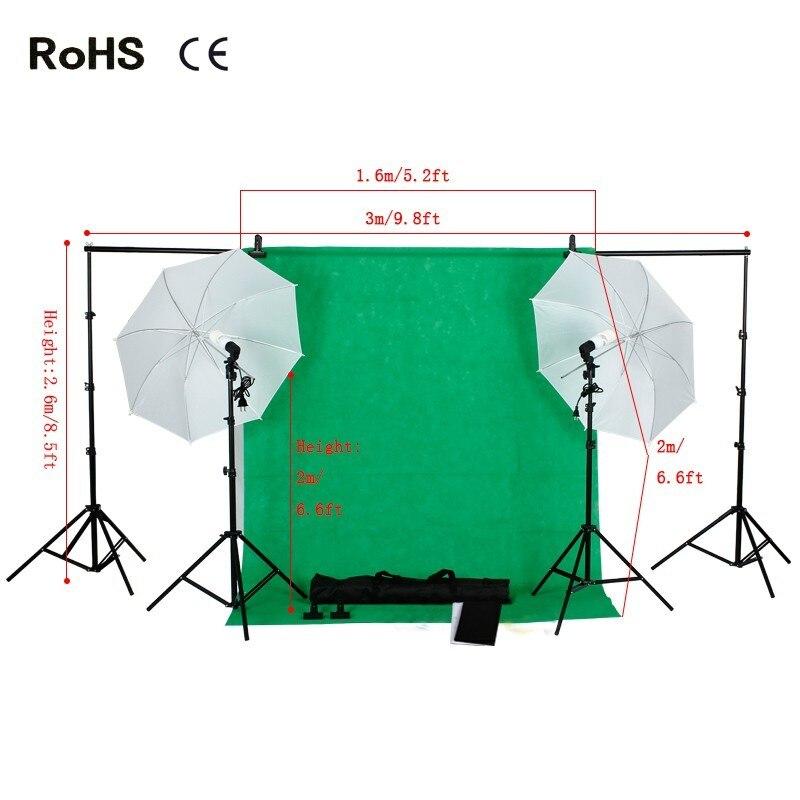 Sale Items Photo Studio Backdrop Umbrella Lighting Kit Set 3*1.6m*2m non-woven backdrops+2*45w 5500K Daylight Light Bulb цена