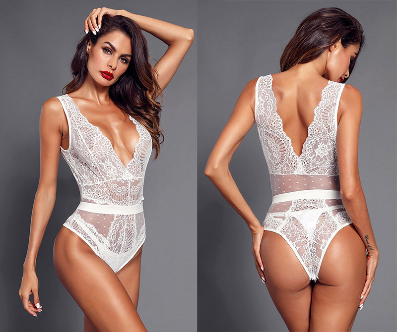 White-Scalloped-Deep-V-Neck-Lace-Bodysuit-LC32226-1-6