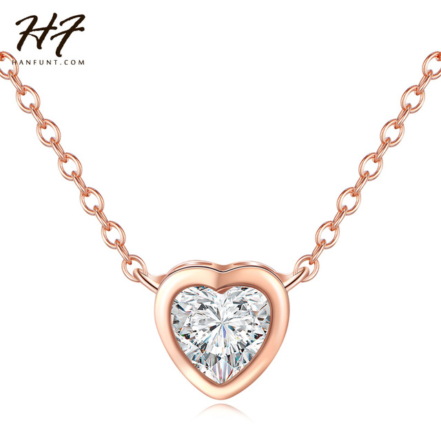 Top quality classic simple heart necklace rose gold color cz crystal top quality classic simple heart necklace rose gold color cz crystal pendant fashion jewelry gift for aloadofball Gallery