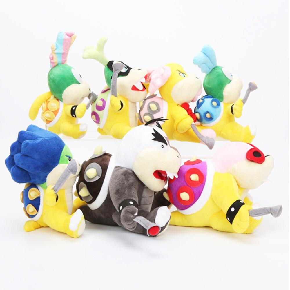 7 in 1 !!!!Mario 3D Land Bone Kuba Dragon Dark Bowser Plush Toy Bolster Cartoon Plush Soft Stuffed Dolls Dry Bones Bowser Koopa 18cm 7inch super mario plush toys bowser dragon doll brothers bowser toy free shipping