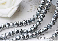 5040 AAA plated Silver Color Loose Crystal Glass Rondelle beads.2mm 3mm 4mm,6mm,8mm 10mm,12mm Free Shipping!