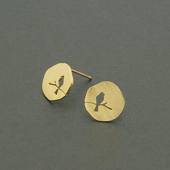Jisensp Fashion Earing Classic Hollow Vintage Animal Bird On A Branch Stud Earring For Women Party Bijoux Boho Earring Oorbellen