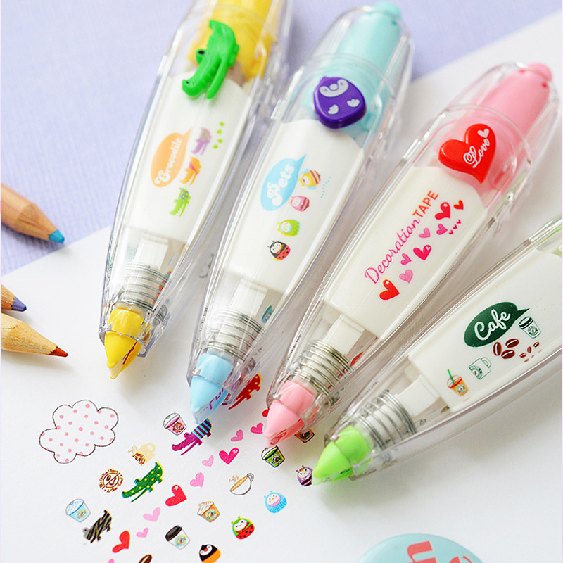 New Arrival Kawaii Animals Press Lace Type Decorative Correction Tape Diary Stationery School Supply Decorative Sticker