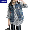 Hot Sale Girls Fashion Outerwear 2017 New Spring Autumn Cowboy Waistcoats Denim Jacket Appliques Coat Girls Sleeveless Vests