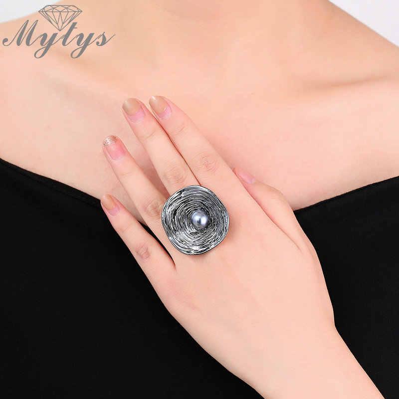Mytys женское большое круглое кольцо окисленное серебряное Ретро геометрическое массивное кольцо с черным жемчугом Королевское кольцо Подарочное ювелирное изделие R1990