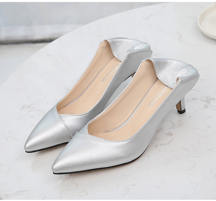 Image 5 - Plus Size 36 46 Women Shoes Pointed Toe Pumps Patent Pu Casual Shoes Kitten Heels Boat Shoes Wedding shoes  zapatos de mujerWomens Pumps   -