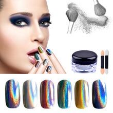 Hot 1g/box Holographic Nail Powder Art Glitter Shiny Rainbow Pigment Unicorn Hologram Dust Manicure Accessory