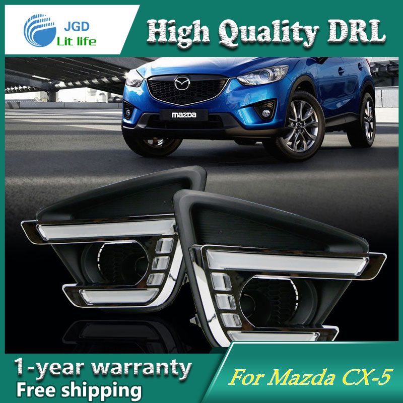 Case For Mazda CX-5 2013 2014 2015 Turning Signal Relay Waterproof Car DRL 12V LED Daytime Running Light Fog Lamp for mazda cx 5 cx5 2012 2013 2014 2015 aluminium alloy side bars rails roof rack luggage carrier car styling