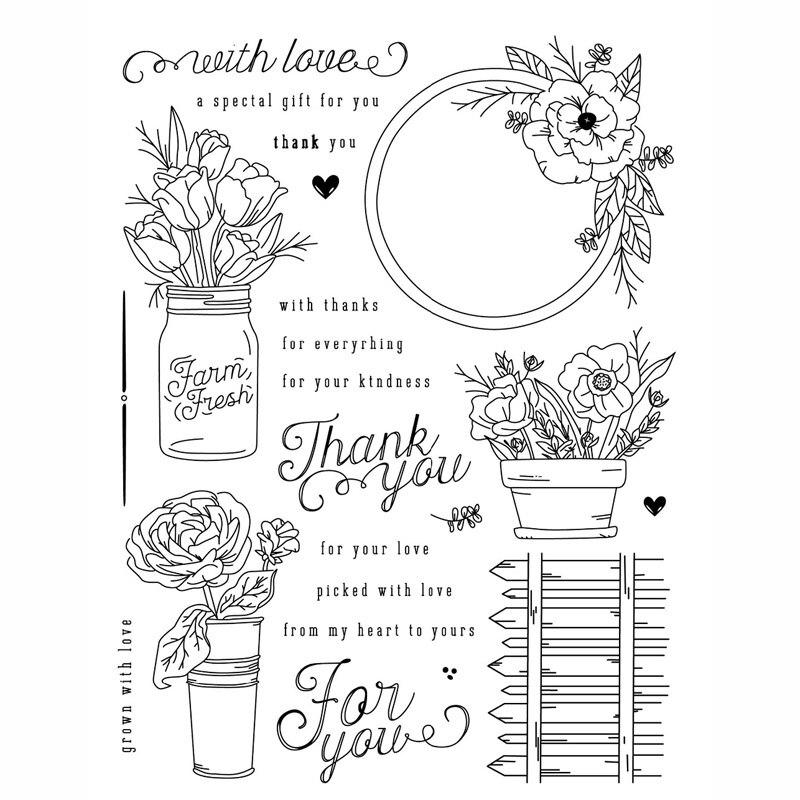 KLJUYP Farm Fresh Clear Stamps Scrapbook Paper Craft Clear