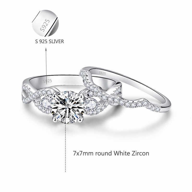 خاتم فضة استرلينى بيجو كريستال الزركون خواتم رومانسية زفاف خطوبة نساء فضة 925 مجوهرات