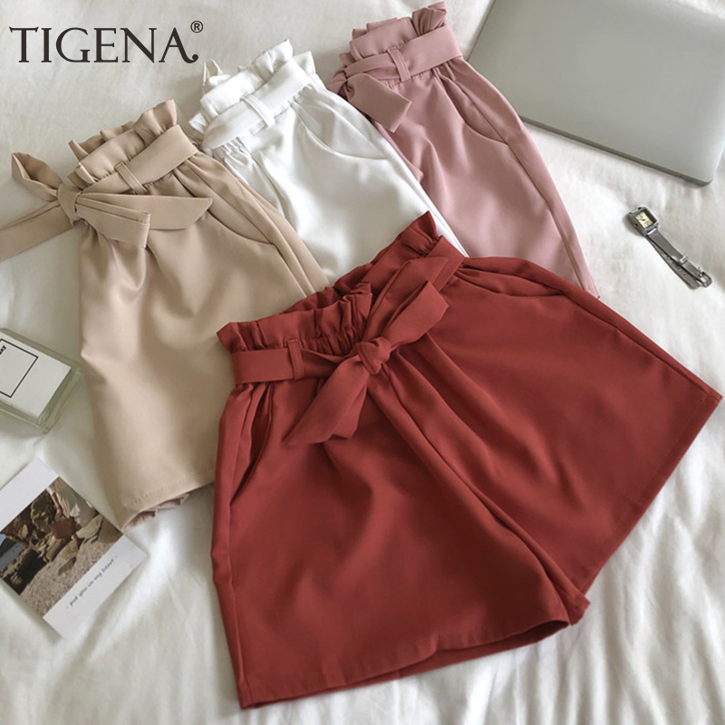 TIGENA Cute Bow Belt Shorts Women 2020 Summer High Elastic High Waist Shorts Female Korean Casual Loose Hot Short Pants Ladies