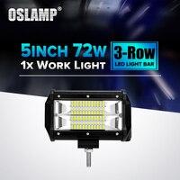 Oslamp 72W 5inch Led Chips Flood Beam Work Light 12V 24V 6000K 1pc Led Car Lamp
