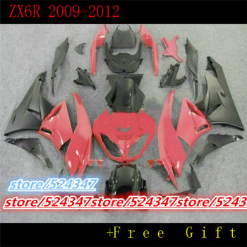 Nn-Custom motorcycle three free package ZX - 6 r 2009-2012 ZX r kawasaki ninja ZX6R red  silver bacardi fairing sections