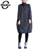 Oladivi 2017 Plus Size Autumn Winter Women Dress Turtleneck Casual Loose Patchwork Dresses Robe Tunic Vestidos