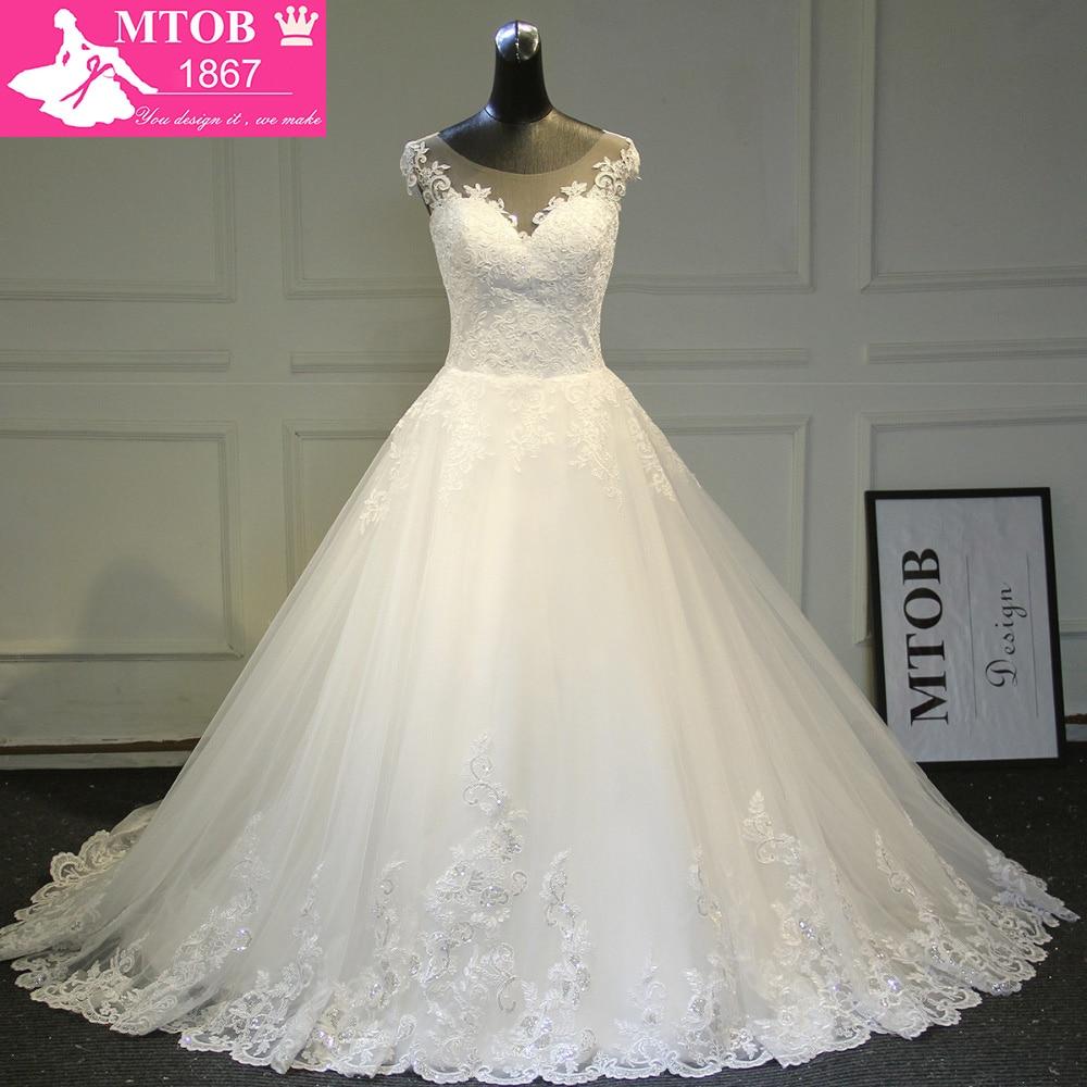 Elegant A line Lace Wedding Dress 2019 Chapel Train Satin Bride Dresses Vintage Vestido De Noiva