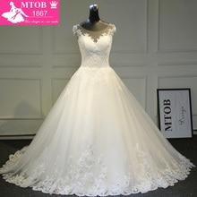 Elegant A line Lace Wedding Dress 2019 Chapel Train Satin Bride Dresses Vintage Vestido De Noiva Renda MTOB1722