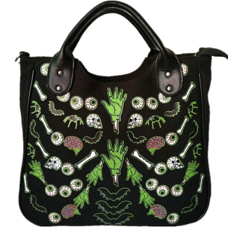 Girls 3D Skull Bone Bat Shoulder Bag Halloween Handbag For Women Horror Costume Scary Fashion Canvas Bag Eyeball Artificial Hand