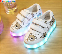 2017 Autumn Size 22 30 Luminous Sneakers 7 Colors Flashing USB Charging Kids Shoes With Light