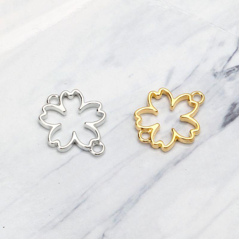 10Pcs DIY Cherry Flower Frame Pendant Open Bezel Setting UV Resin Jewelry Making