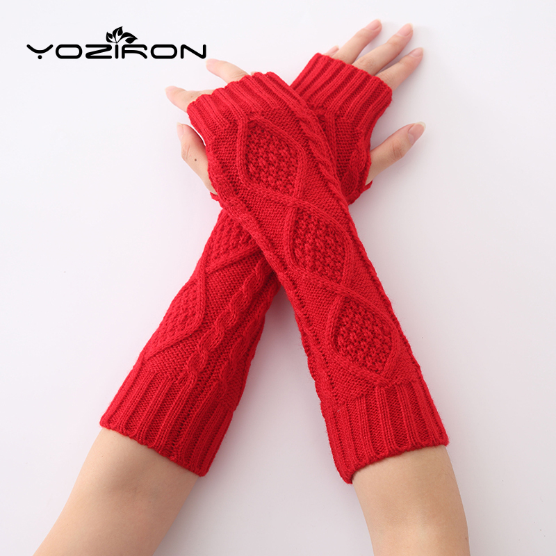 YOZIRON Fashion Women Snake Shape Winter Long Knit Arm Warmers Sleeves Gloves For Woman Girls Fingerless Gloves Arm Warmer
