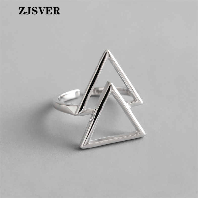 ZJSVER Fine Jewelry 925 Sterling Silver Rings Fashion Simple Silver Geometric Double Triangle Opening Adjustable Women Ring(China)