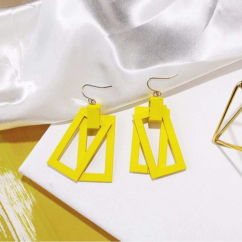Korean Double Layer Wood Drop Earrings For Women Yellow Purple White Geometric Round Square Dangle Earrings Girls Jewelry Gift