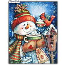 MOONCRESIN 3D Diy Diamond Embroidery Christmas Snowman &His Friends Diamond Mosaic Full Diamond Painting Cross Stitch Decoration mooncresin 3d diy diamond embroidery christmas elk gift diamond mosaic full diamond painting cross stitch decoration handicrafts
