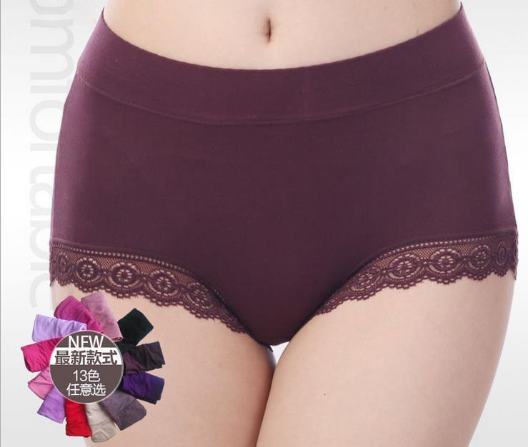 AQ193 Women Briefs Hight Waist Sexy   Panty   Lace Underwear Cuecas Modal Women Intimates   Panties   Plus Size Underpants