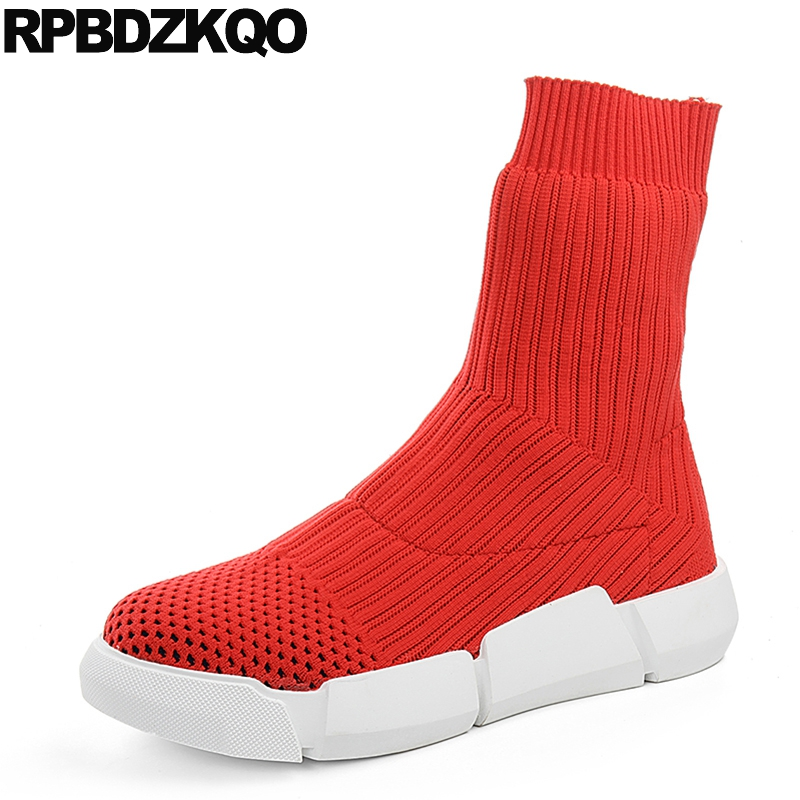 Casual Short Sock Muffin Fall Ladies Knit Slip On Stretch Red Platform 2017 Women Ankle Boots 2016 Round Toe Sneakers Shoes Flat sweet women high quality bowtie pointed toe flock flat shoes women casual summer ladies slip on casual zapatos mujer bt123