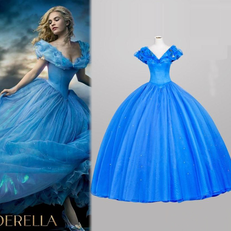 2015 blue cinderella dress for girls movie costume princess adult cinderella costumes cosplay party victorian dresses women vacation