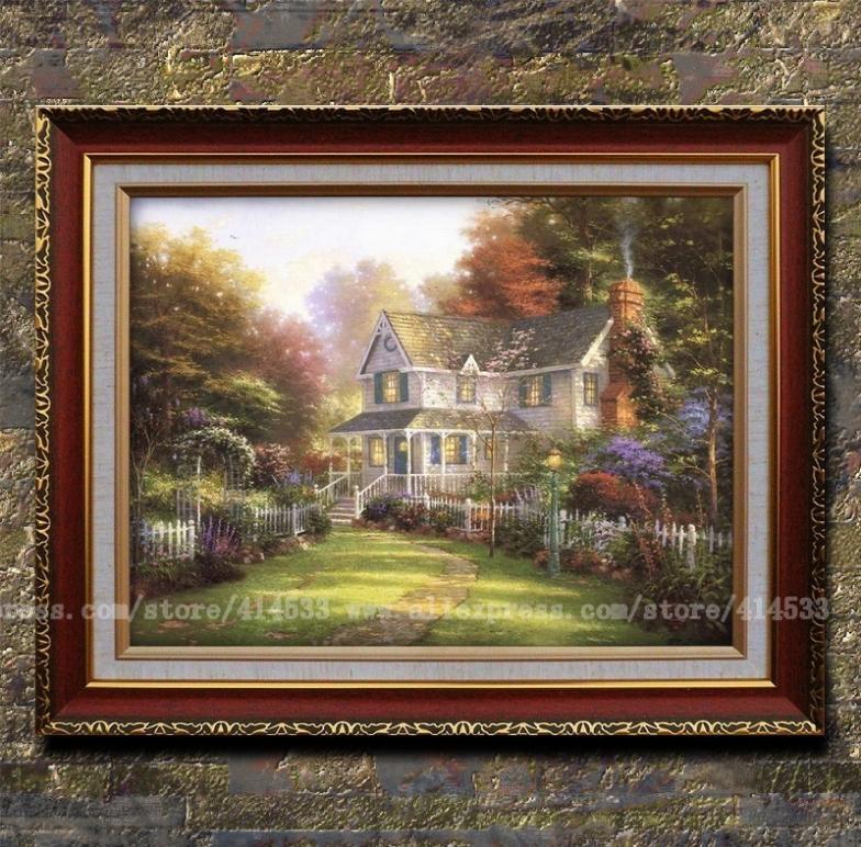 Victorian art prints thomas kinkade oil painting victorian garden ll landscape painting hotel for Home interiors thomas kinkade prints