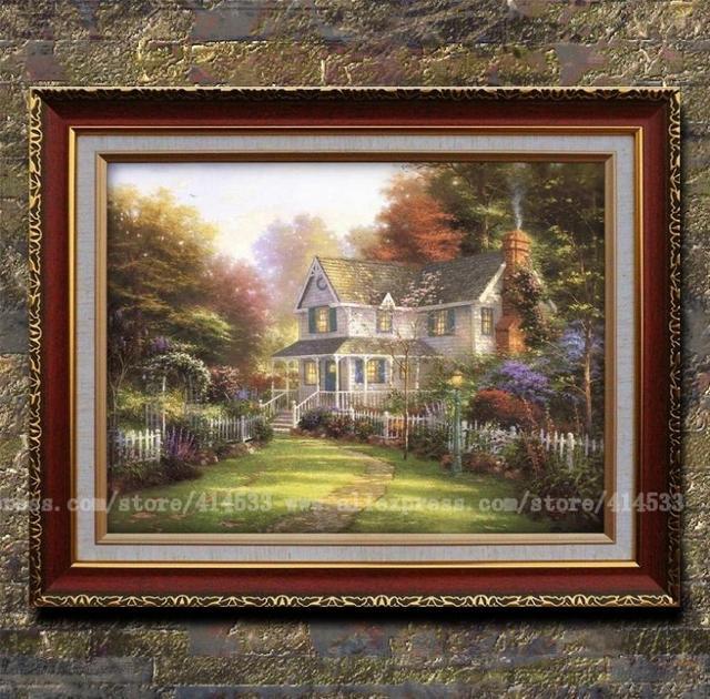 Victorian Art Prints Thomas Kinkade Oil Painting Victorian