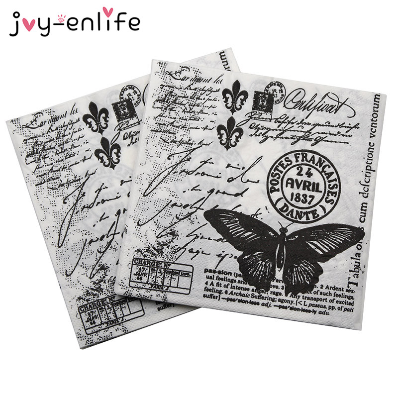 20pcs Black Butterfly Vintage Table Paper Napkins Wedding Birthday Party Decor//