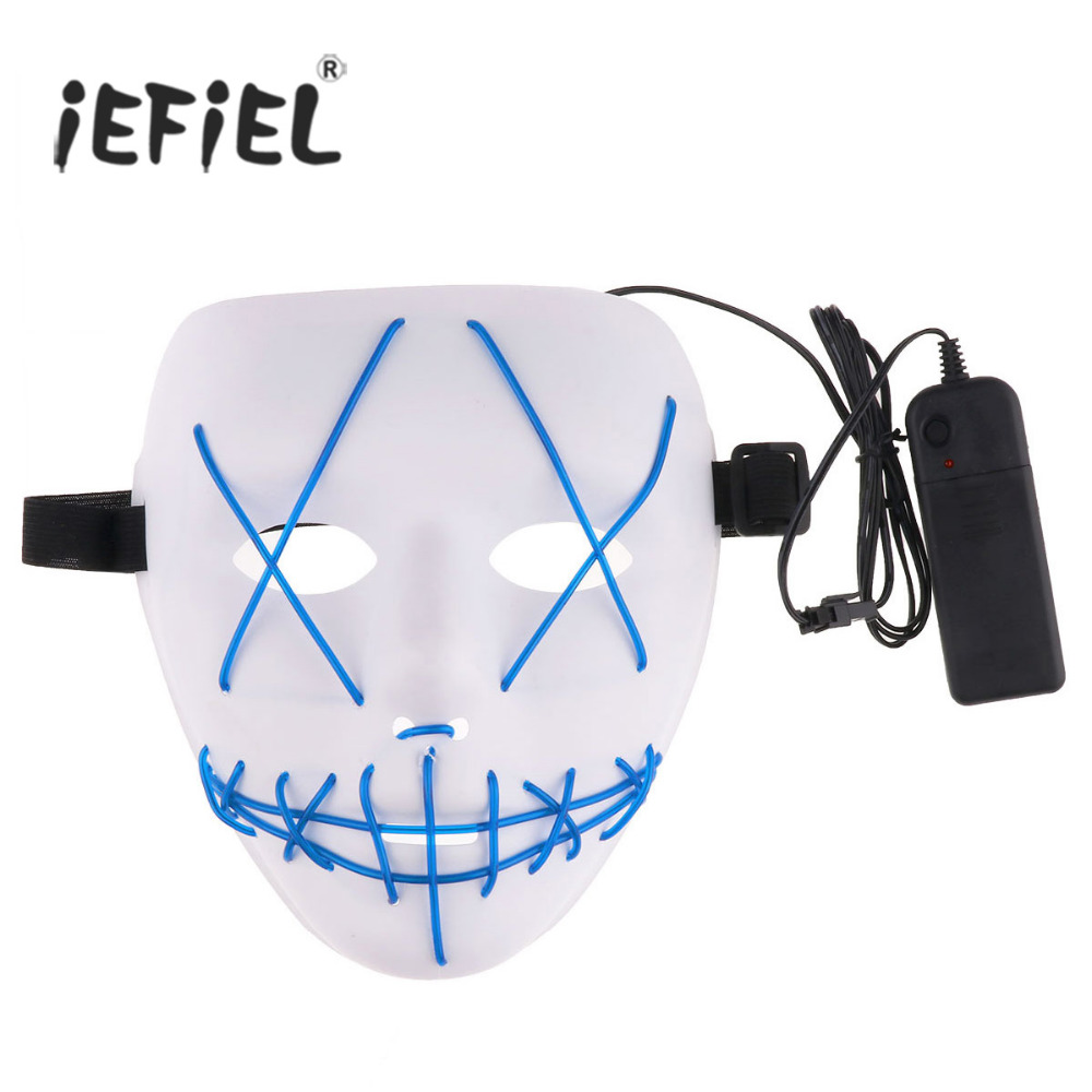 iEFiEL EL Wire Glow Scary LED Mask Halloween Cosplay Led Costume Mask with Battery Pack no Battery for Festival Parties