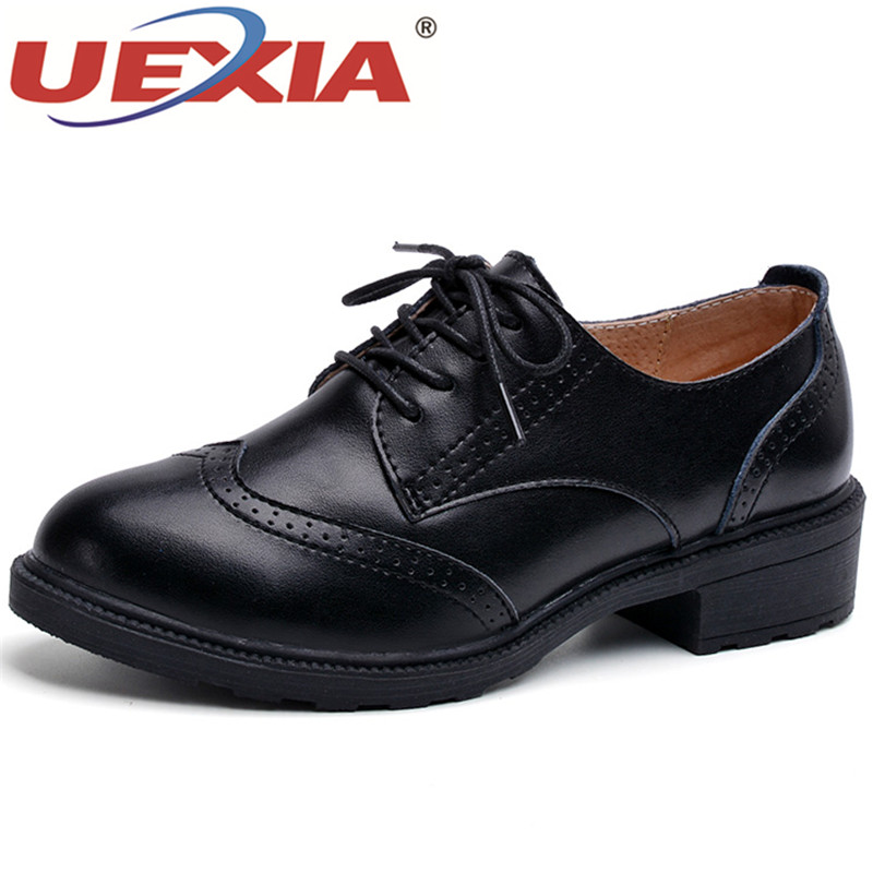 UEXIA Ladies Oxford Shoes Women Soft Leather Oxfords Flat Heel Flats Casual Shoes Lace Up Women's Shoes Retro Brogues Footwear beffery spring patent leather oxford shoes women flats pointed toe casual shoes lace up soft leather womens shoes retro brogues