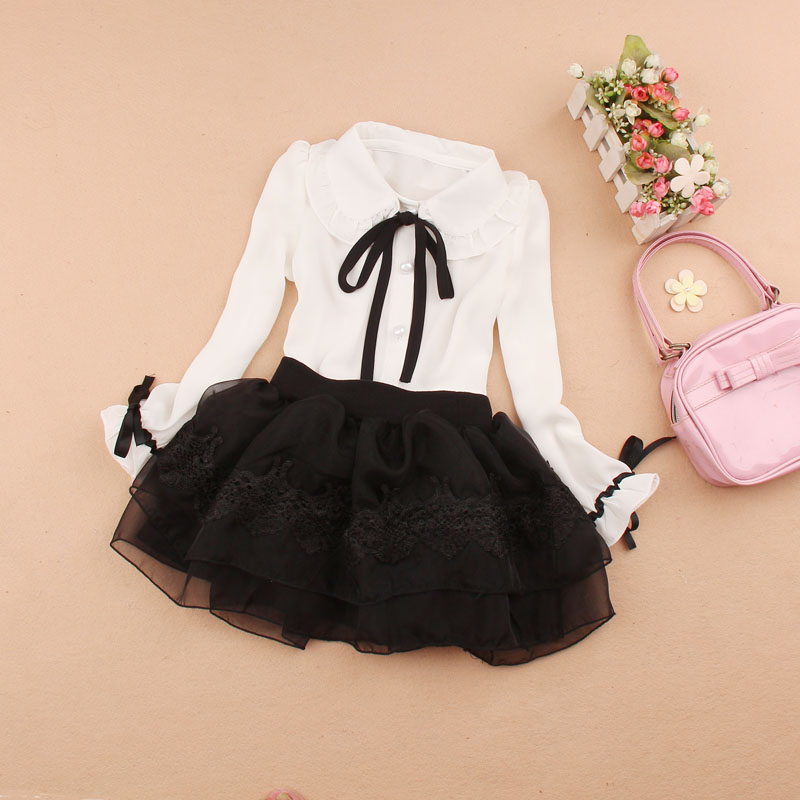 2019 Spring Girls Clothing Sets Kids Girls Clothes Children Clothing Set Chiffon Blouse + Tutu Skirt Two-piece Suit Age 2-16y Numerous In Variety