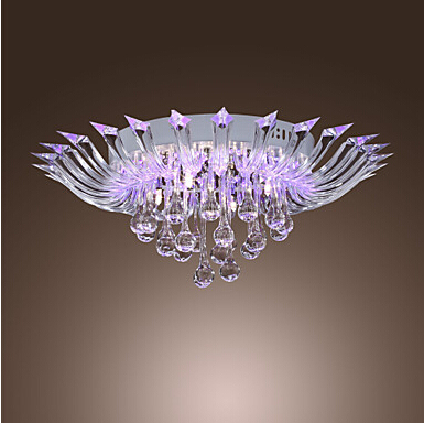 New Semi Flush Mount Modern Crystal Ceiling Lighting With Remote Control G4 Bulb Base