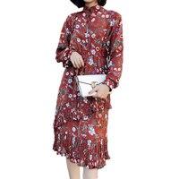 Fall New Long Sleeve Long Chiffon Dress