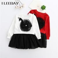 Inverno Ragazze Dei Capretti Della Principessa Vestito Coreano Bambini di Stile Swan Ricamo Costume Infant Tulle Party Dress Toddler Toga di laurea