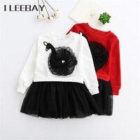 Kış Çocuk Kız Prenses Elbise Kore Tarzı Çocuk Kuğu Nakış Kostüm Bebek Tül Parti Elbise Toddler Mezuniyet Elbisesi