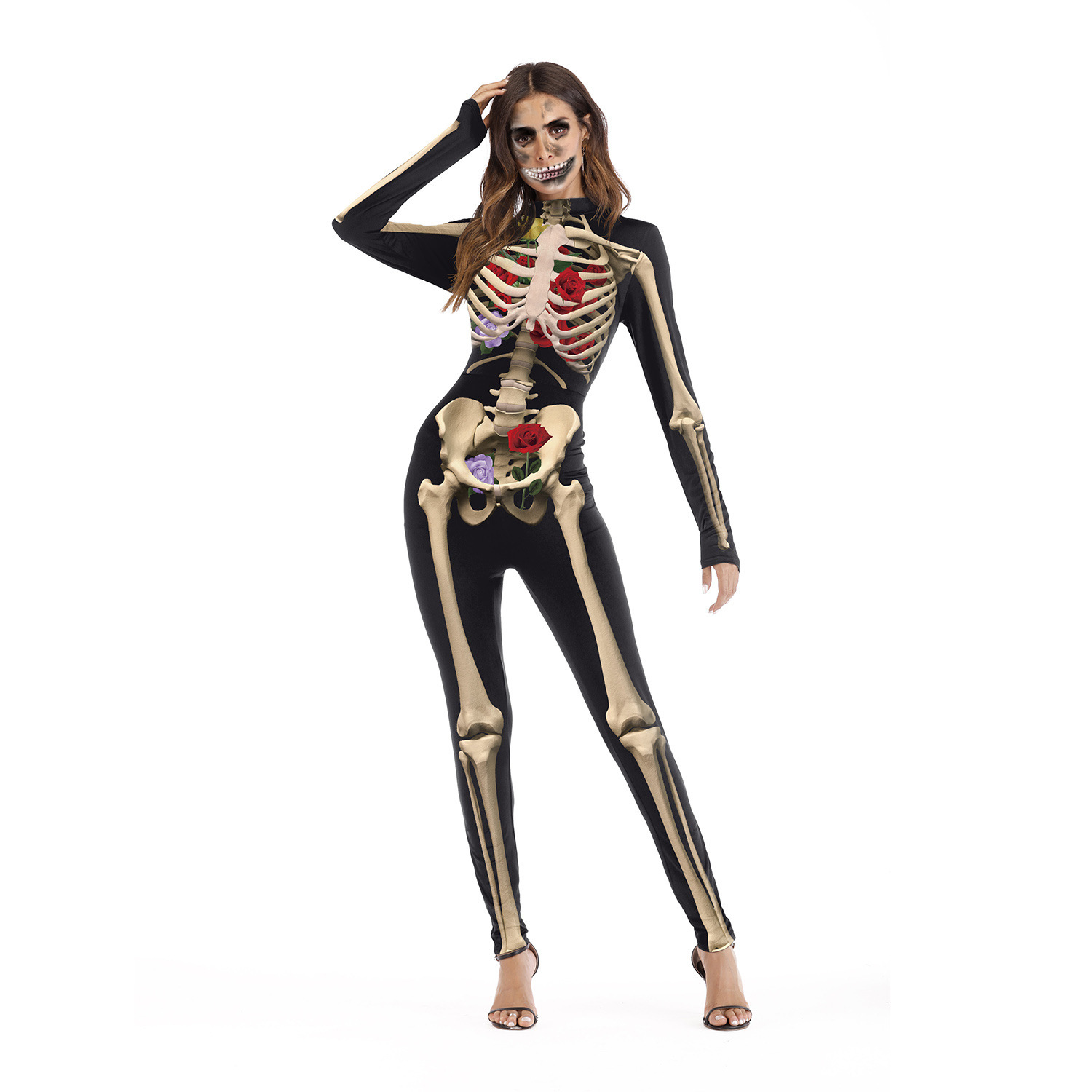 <font><b>2018</b></font> <font><b>Halloween</b></font> Costumes For <font><b>Women</b></font> Cosplay Bodysuit New <font><b>Sexy</b></font> Slim Party Jumpsuit Skeleton Bone & Flora Print <font><b>Halloween</b></font> Suit image