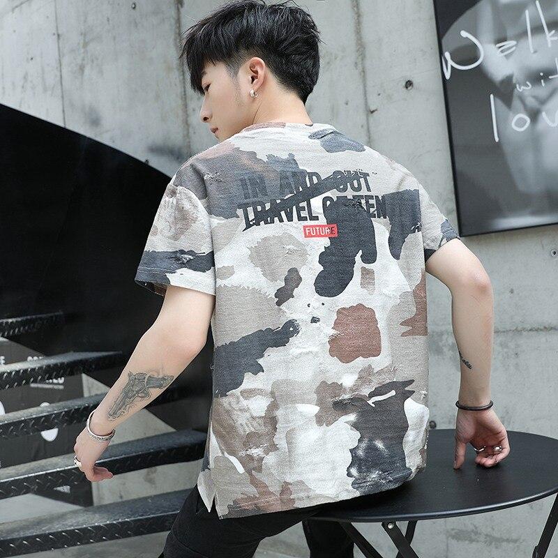 2019 Fashion Top retro t shirt men clothes tshirt Korean hip hop style short sleeve camouflage o neck plus size XXXL tee shirts