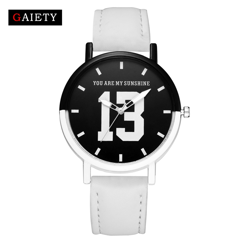 Gaiety Brand Women Fashion Casual Leather Strap Watch Black White Ladies Wristwatch 13 Women Dress Sport Clock Quartz Watch G504 tsurinoya fishing lure minnow hard bait swimbait mini fish lures crankbait fishing tackle with 2 hook 42mm 3d eyes 10 colors set