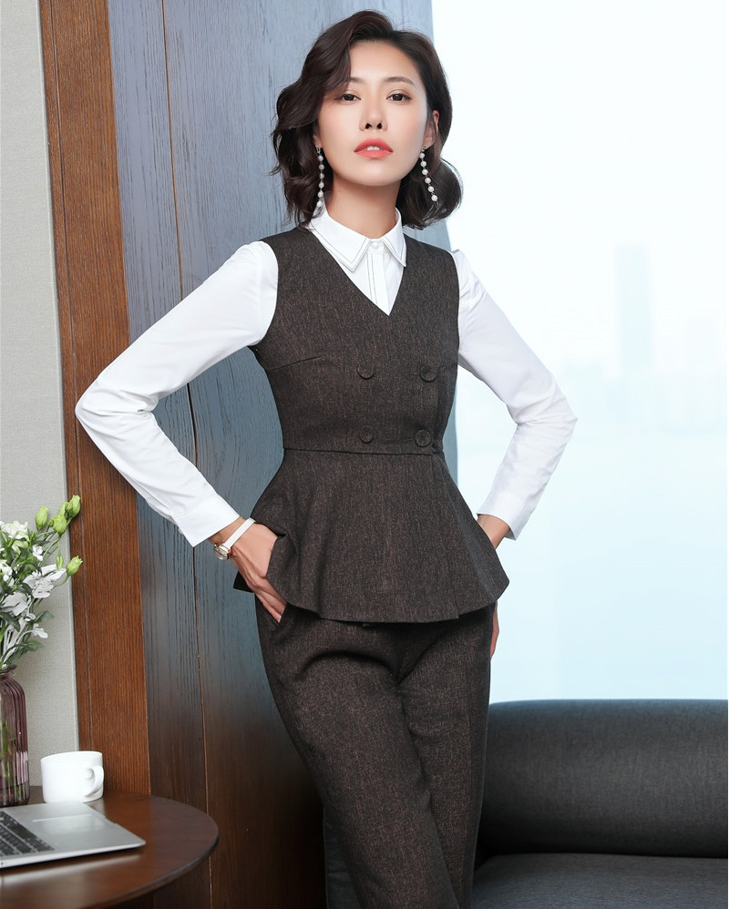Fall Winter 2018 New Styles Formal Pantsuits With Pants And Vest Coat & Waistcoat Brown Blazers Ladies Office Uniforms Designs