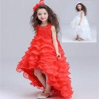 Chinese Red Christening White Long Tail Princess Girls Sleeveless Lovely O Neck Bowknot Decor Wedding Performance