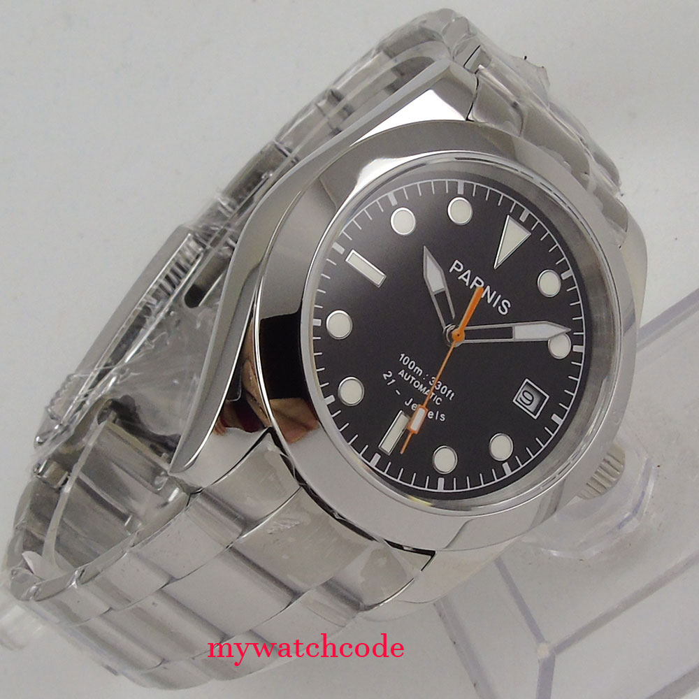 40mm parnis black dial sapphire glass 21 jewels miyota automatic mens watch 42mm parnis withe dial sapphire glass miyota 9100 automatic mens watch 666b